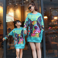 Mother Daughter Sweatshirts 2019 Autumn Winter Family Matching Outfits Cute Dog Print Long Sleeve Family Look Matching Clothes