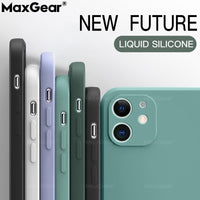 New Square Liquid Silicone Phone Case For iPhone 11 Pro Max XS SE 2020 X XR 6 6S 7 8 Plus Original Luxury Solid Color Soft Cover