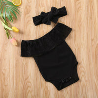 Newest 2PCS Newborn Baby Girl Clothes Romper Bodysuit Headband Outfit Set Indent Girls Sweet Lace Romper Bodysuit Black