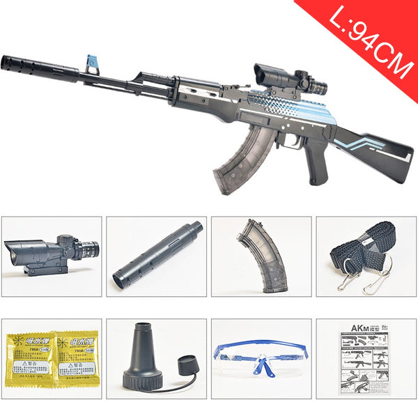 Plastic AKM AK 47 Toy Gun Assembly Pistol Weapon Air Gun Model Can shoot 7-8mm Water Gel Ball Water Beads Outdoor Toy Child Safe