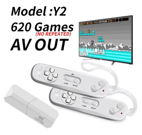 Y2 Retro Video Game Console Wireless USB Console Support TV Out Built in 620 Classic Video Games Dual Handheld Gamepads