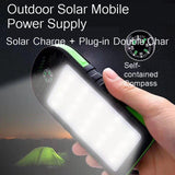 Vogek 10000mAh Solar Power Bank Waterproof Outdoor Charger 2 USB Ports External Charger Powerbank with Lamp