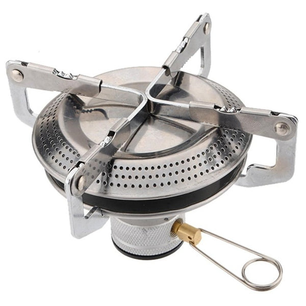1pc Portable Stainless Steel Mini Camping BBQ Gas Stove Outdoor Hiking Picnic Survival Cookout Folding Stove Head gas-burner