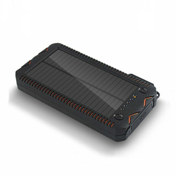 Solar Power Bank 30000mAh Waterproof Cargador Portatil Double USB Powerbank LED Flashlight Lighter External Charger