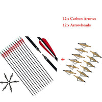 "6/12pcs 31.5"" Carbon Arrows Spine 500 Archery Arrow For Recurve/Compound Bow For Hunting Sports Shooting Replaceable Arrowheads"
