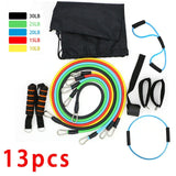 11PCS/ 13PCS Fitness Resistance Bands Workout Exercise Yoga Set Fitness Tube Yoga Stretch Training Home Gyms Elastic Pull Rope