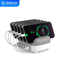 ORICO USB Charger 40W Max 5 Ports USB Docking Station with Holder USB Charging for Phone Tablet at Home Public 5V2.4*5