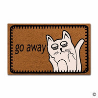 "Entrance Floor Mat Funny Door Mat Go Away Cat face Home Decorative Indoor Outdoor Doormat Non-woven Fabric Top 18""x30"""