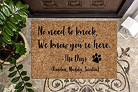 "No Need to Knock We Know You're Here Name Doormat 24"" X 16"" Indoor Outdoor with Shiba Inu Dog Entrance Door Mat Rug Decor"