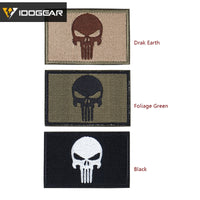 IDOGEAR Paintball Wargame Gear Tactical Patch Embroider Skull Badge Military Tan  Black Tactical Accessories