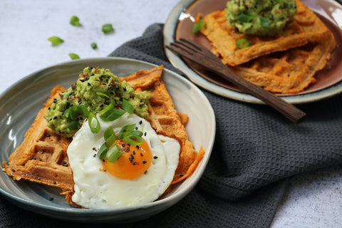 Sweet Potato Waffle with Smashed Avo & Egg