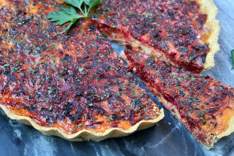Oat Crust Quiche with Beetroot and Salmon