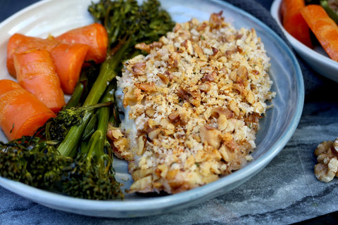 Walnut Crusted Chicken Tray Bake by Hayley Connor