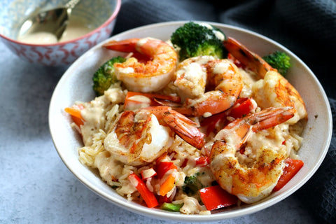 Spiced Prawns w Garlic Rice & Veg