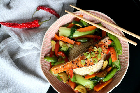 Crispy Skin Salmon with Veggies & Rice