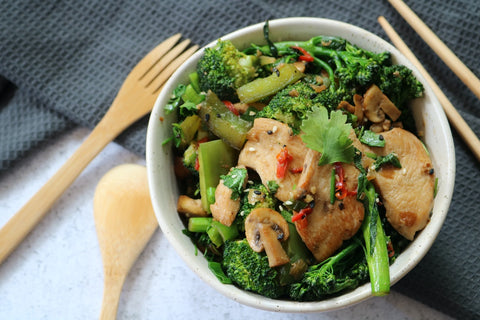 Asian Stir Fry Greens with Chicken