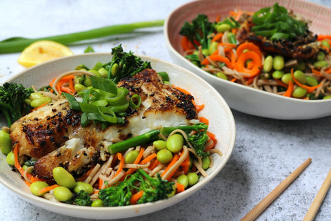 Asian Spiced White Fish and Edamame Noodle Salad