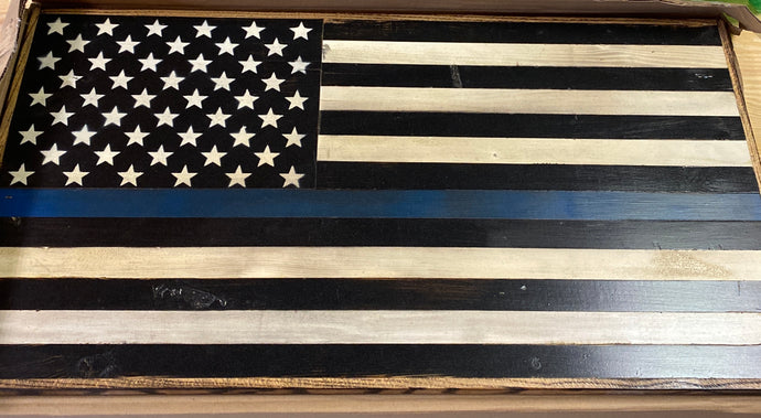 Small flat Thin blue line Flag