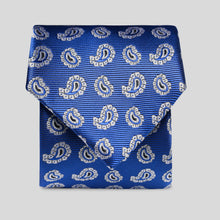 Load image into Gallery viewer, Folkespeare Royal Blue And White Paisley Pattern Classic Tie