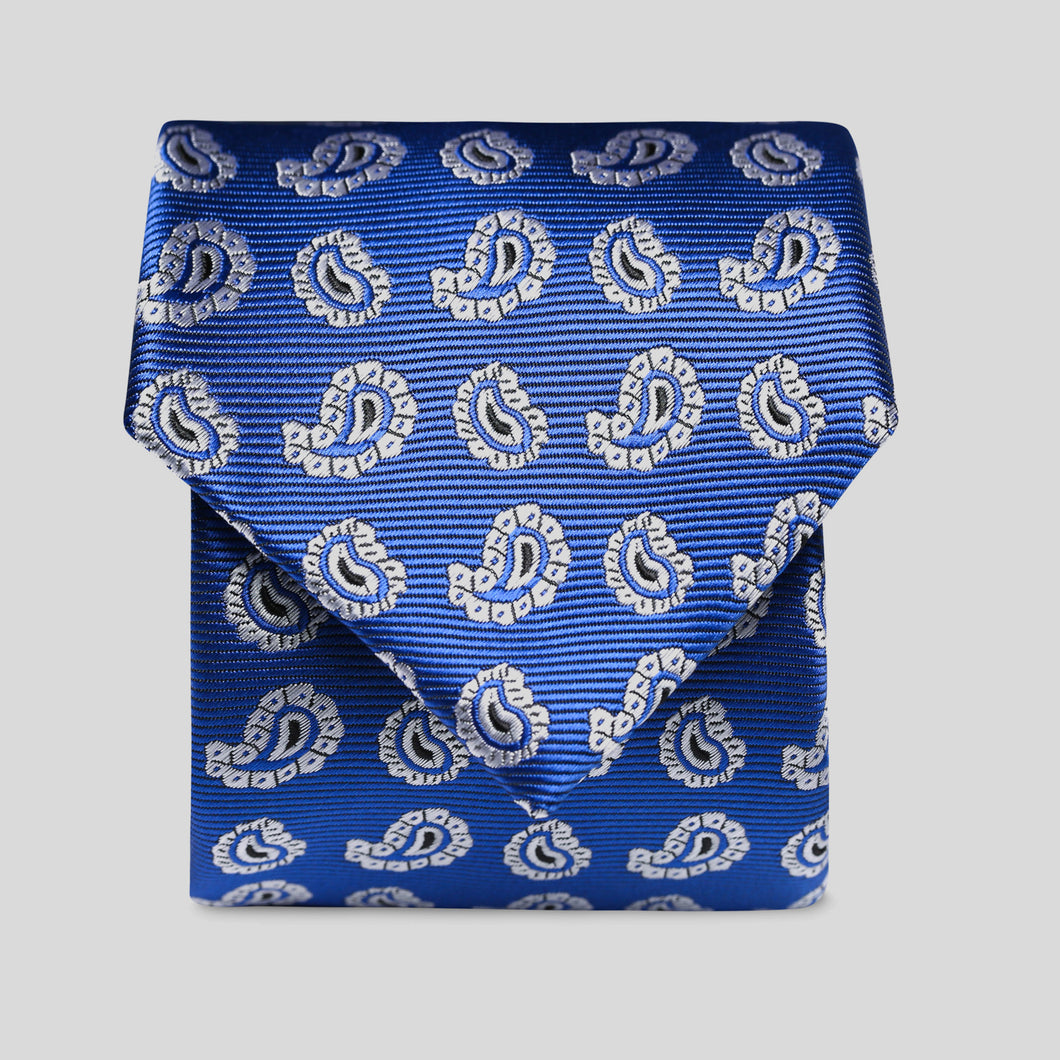 Folkespeare Royal Blue And White Paisley Pattern Classic Tie