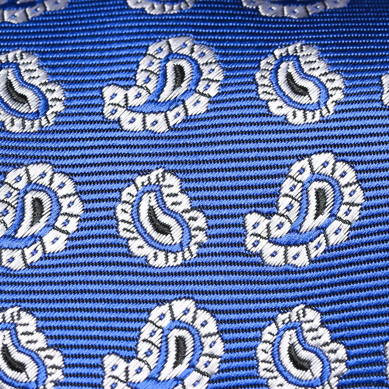 Folkespeare Royal Blue And White Paisley Pattern Classic Tie Fabric