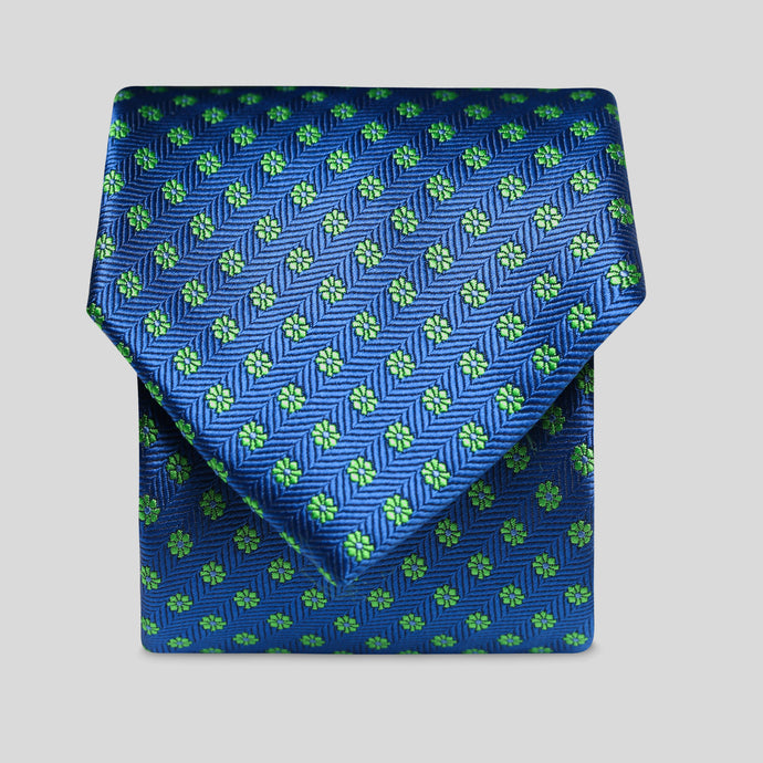 Folkespeare Royal Blue And Green Daisy Pattern Classic Tie