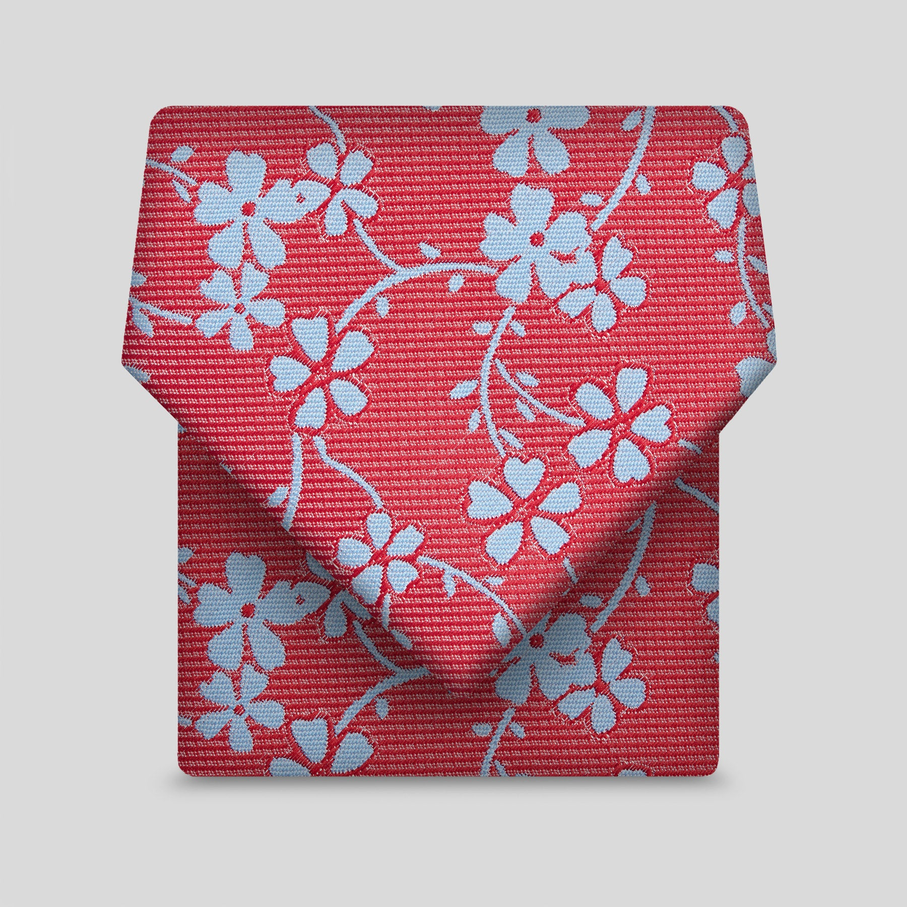 Red With Blue Flower Classic Tie