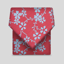 Load image into Gallery viewer, Red With Blue Flower Classic Tie