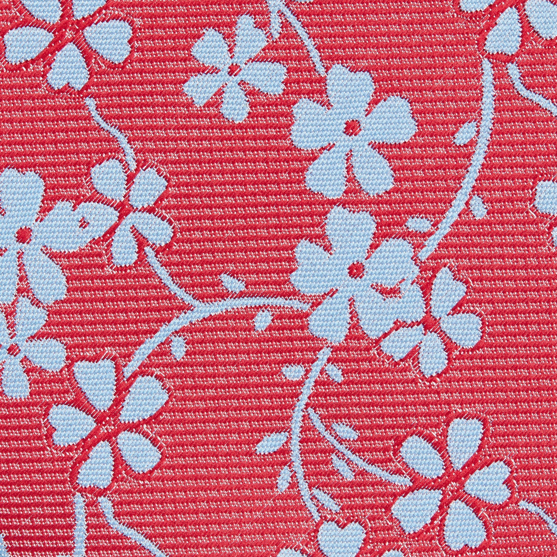 Red With Blue Flower Classic Tie Fabric