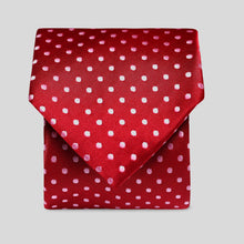 Load image into Gallery viewer, Folkespeare Dark Red And Light Pink Polka Dot Classic Tie