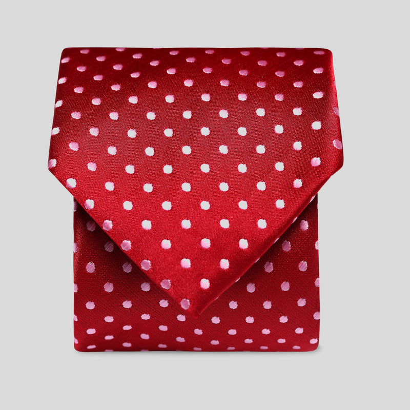 Folkespeare Dark Red And Light Pink Polka Dot Classic Tie