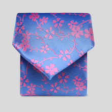 Load image into Gallery viewer, Folkespeare Azure Blue With Pink Flower Classic Tie