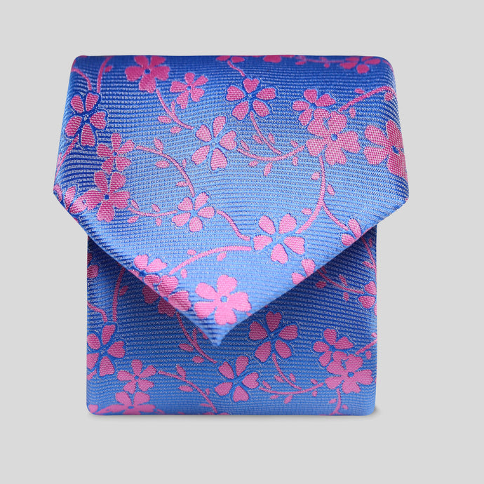 Azure Blue With Pink Flower Classic Tie