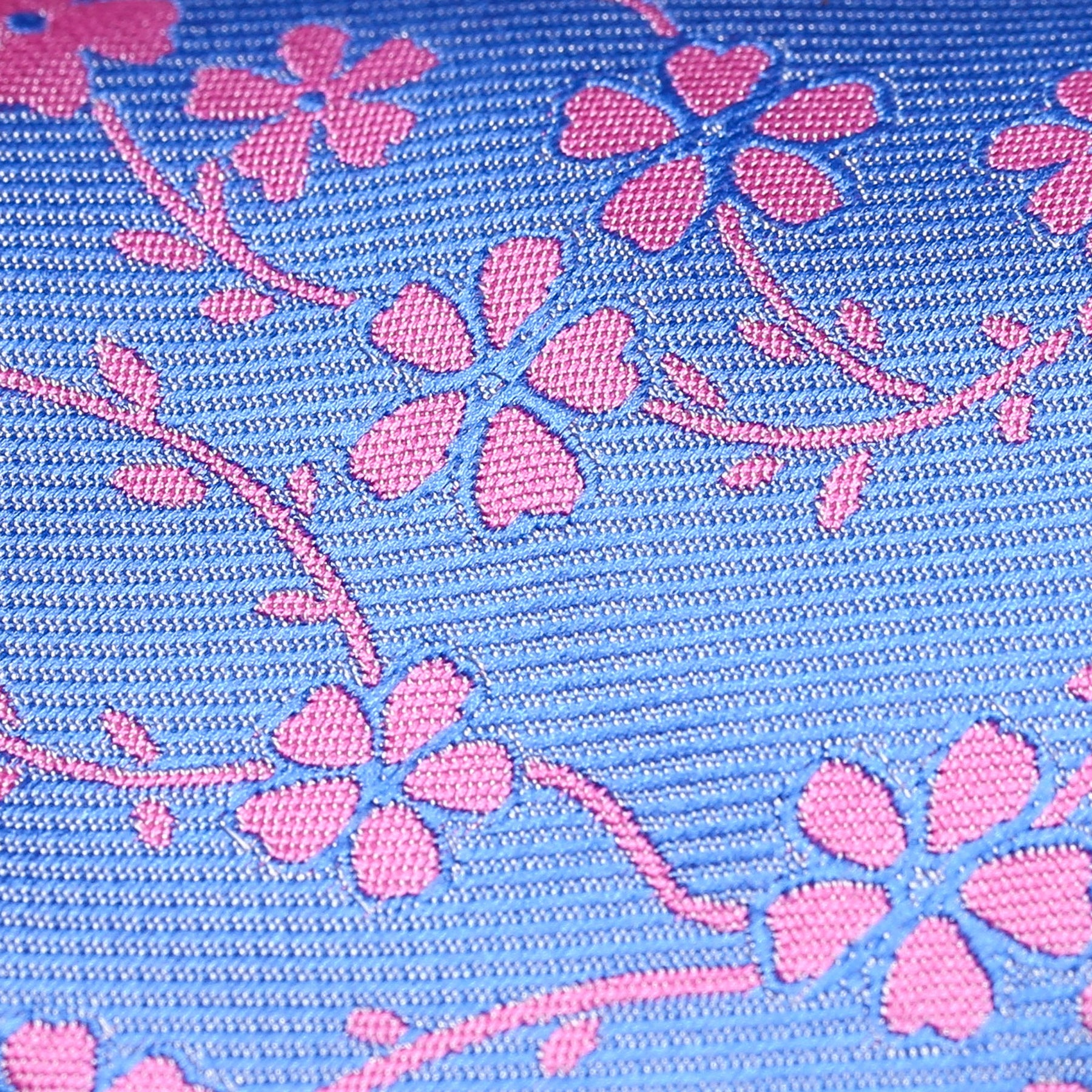 Folkespeare Azure Blue With Pink Flower Classic Tie Fabric
