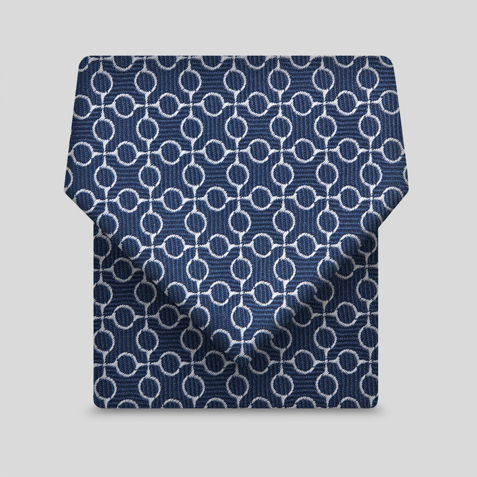 Dark Navy And White Geometric Pattern Classic Tie