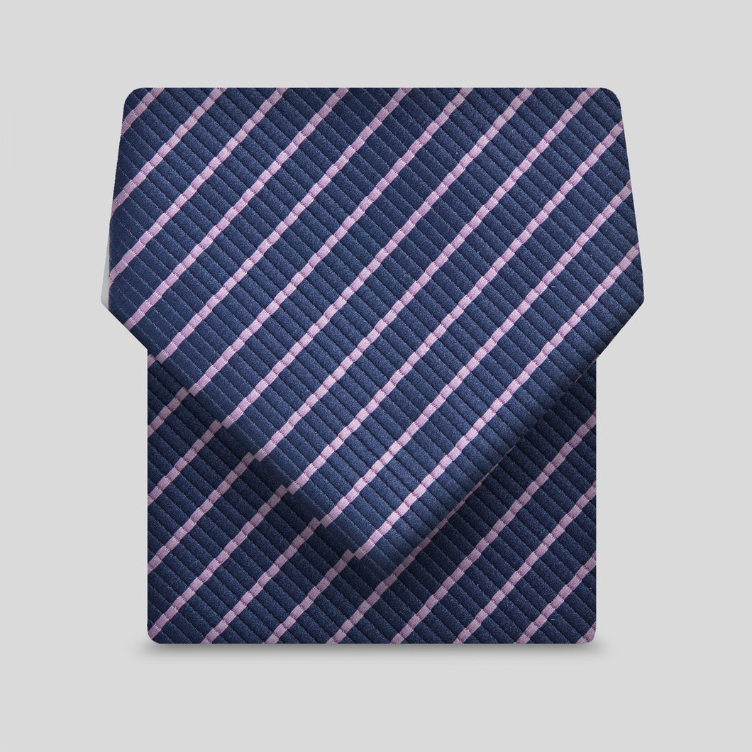 Navy With Narrow Lilac Stripe Classic Tie