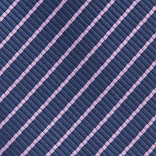 Load image into Gallery viewer, Navy With Narrow Lilac Stripe Classic Tie Fabric