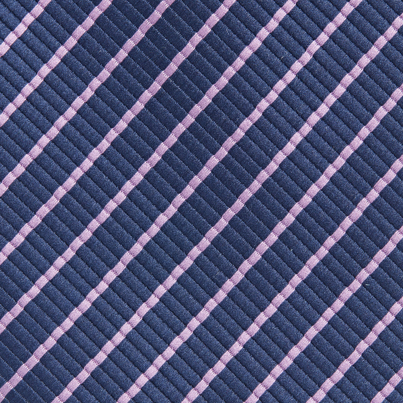 Navy With Narrow Lilac Stripe Classic Tie Fabric