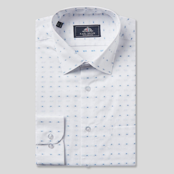 Rael Brook Classic Fit White Dobby Weave Check Single Cuff Shirt
