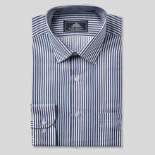 Load image into Gallery viewer, Rael Brook Classic Fit Navy Dobby Stripe Single Cuff Shirt