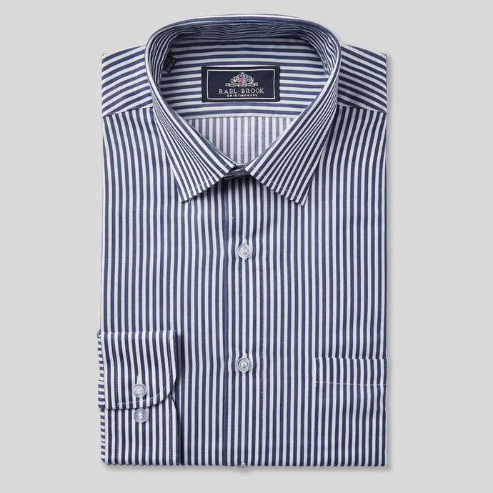 Rael Brook Classic Fit Navy Dobby Stripe Single Cuff Shirt