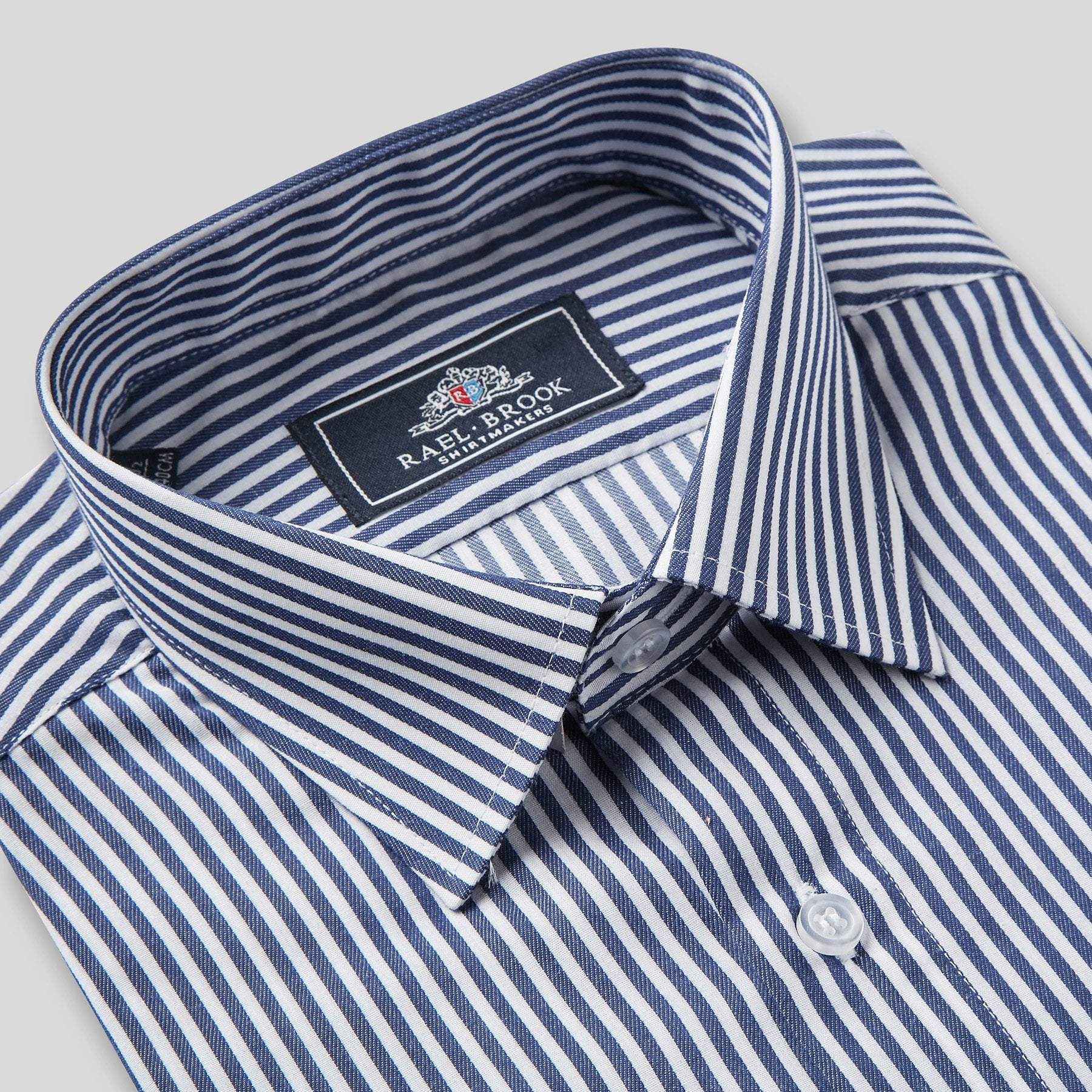 Rael Brook Classic Fit Navy Dobby Stripe Single Cuff Shirt Collar