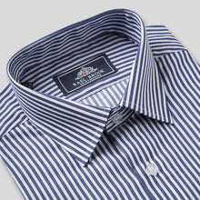 Load image into Gallery viewer, Rael Brook Classic Fit Navy Dobby Stripe Single Cuff Shirt Collar