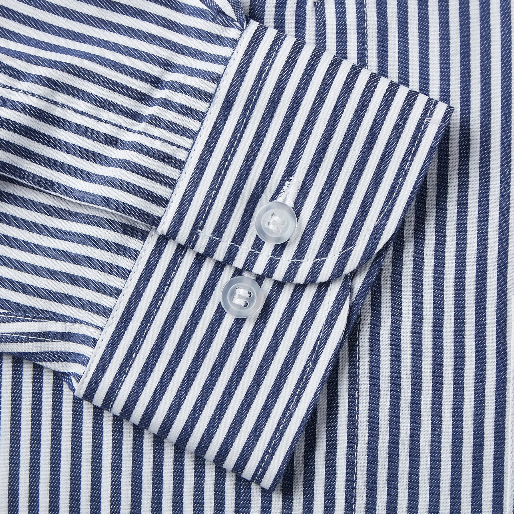 Rael Brook Classic Fit Navy Dobby Stripe Single Cuff Shirt Cuff