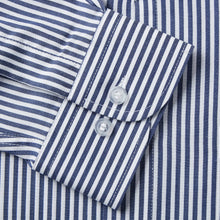 Load image into Gallery viewer, Rael Brook Classic Fit Navy Dobby Stripe Single Cuff Shirt Cuff