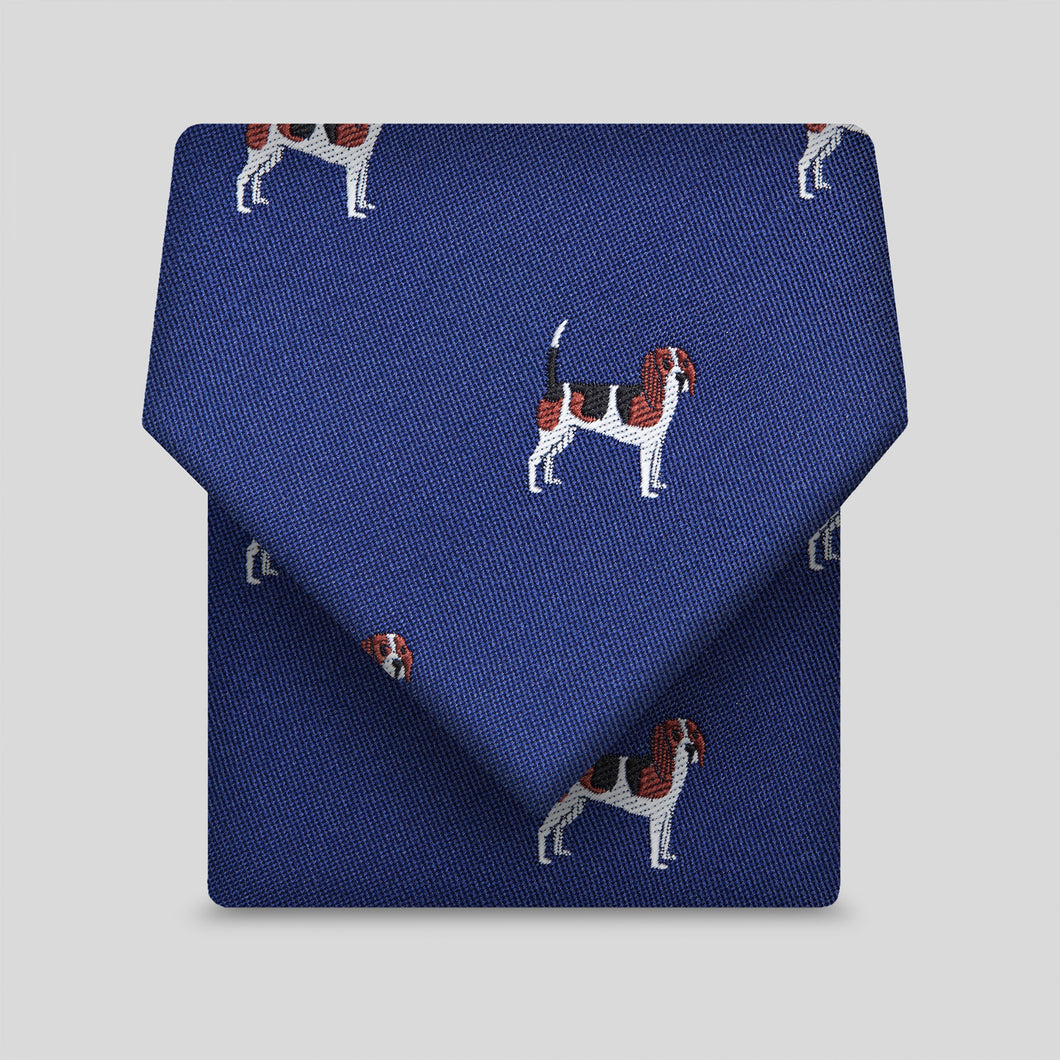 Royal Blue With Beadle Dog Pattern Classic Tie