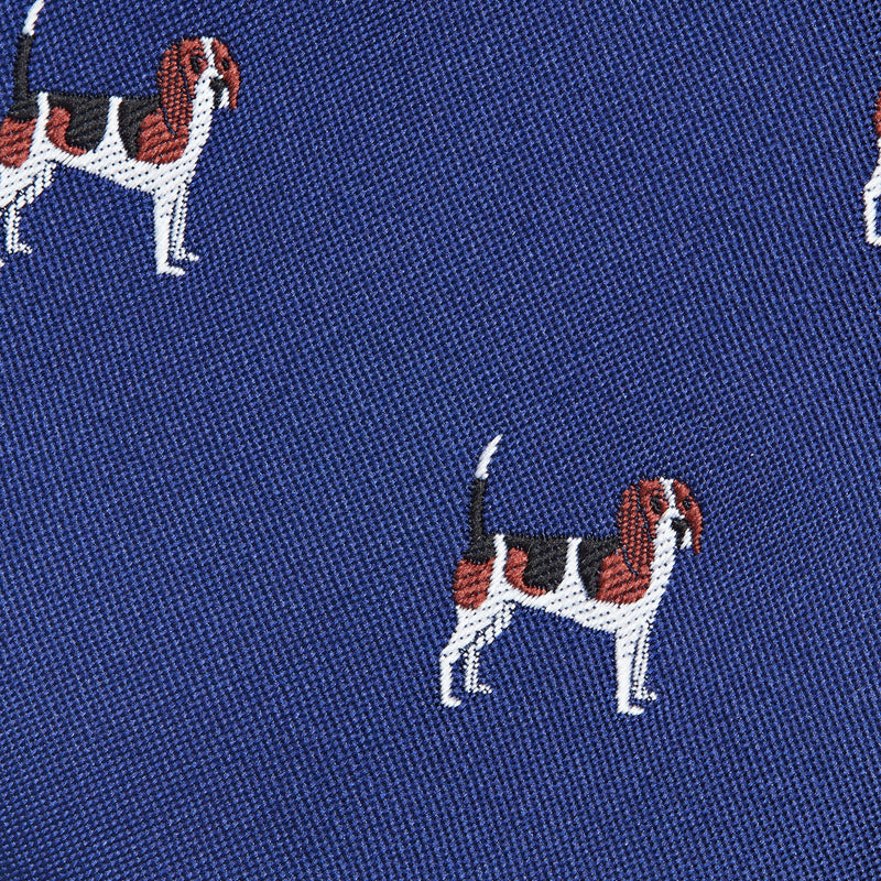 Royal Blue With Beadle Dog Pattern Classic Tie Fabric
