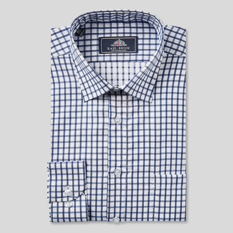 Rael Brook Classic Fit Navy Checkerboard Single Cuff Shirt