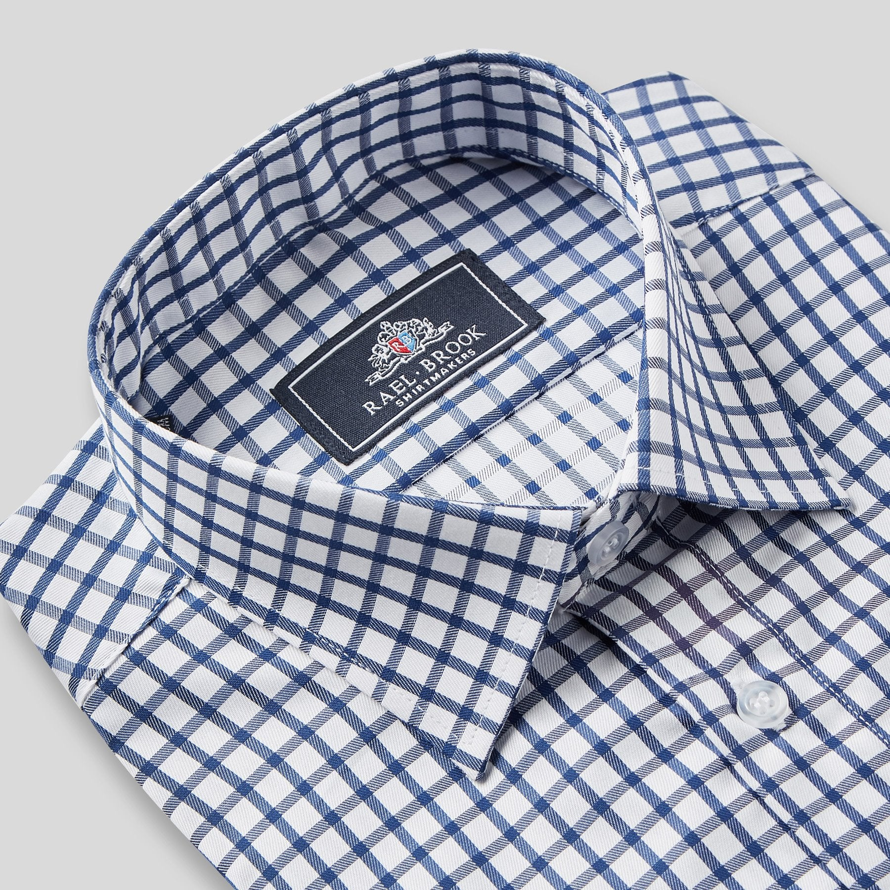 Rael Brook Classic Fit Navy Checkerboard Single Cuff Shirt Collar