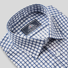 Load image into Gallery viewer, Rael Brook Classic Fit Navy Checkerboard Single Cuff Shirt Collar